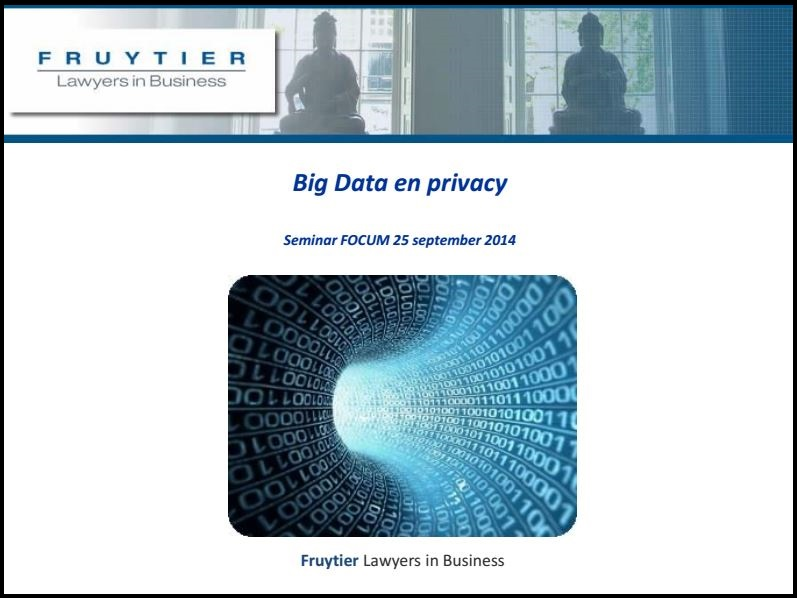 Big data en privacy presentatie Fruytier Lawyers